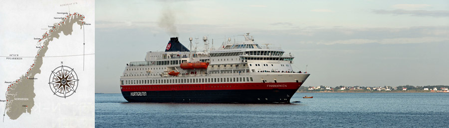 Routenkarte Bergen Kirkenes der halben Routen mit Postschiff