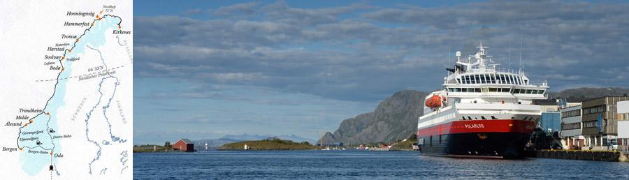 Routenkarte Bergen Kirkenes Trondheim mit Postschiff